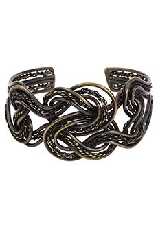 """#Fairtrade #Jewelry Trades of Hope - Straight and braided wire in a burnished bronze finish create the intricate pattern on the tall cuff.     W: 1.75"""" C: 2.25"""" opening accommodates most."""