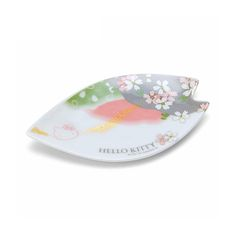 HELLO KITTY Sakura Small Plate. New at Takaski.com. Kitty is playing hide and seek behindsakura cherry blossom! Machine-washable and microwavable.  Production: Made in Japan Size: Approx. 11.5×6.4×0.8cm Delivery: Directly from Japan