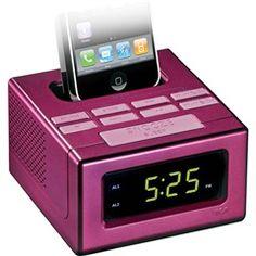 #Pink Dual Alarm Clock FM Radio With iPod®/iPhone® Dock  RCA RC130IPK  PRICE DROP!