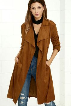 Faux Suede Tan Trench