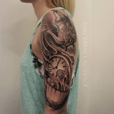 Beautiful Alice In Wonderland Tattoo Clock and teapot Location: Amsterdam, Netherlands Easy Half Sleeve Tattoos, Half Sleeve Tattoos Designs, Tattoo Designs And Meanings, Sleeve Tattoos For Women, Bild Tattoos, Leg Tattoos, Arm Tattoo, Tattoo Clock, Mandala Tattoo