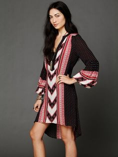 Free People Multicolor Peacemaker Print Shapeless Dress