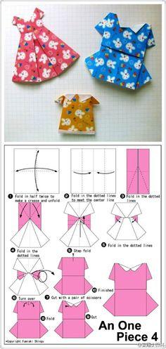 Faça Você Mesmo - Vestidinho de papel tipo origami
