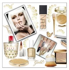 """""""Gold"""" by frenchfriesblackmg ❤ liked on Polyvore featuring Milani, Burberry, Mariah Carey, NARS Cosmetics, Marni, Essie, Artis, Chico's and Judith Leiber"""