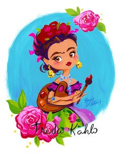Kahlo Paintings, Frida Art, Mexican Folk Art, Mexican Artwork, Art Plastique, Cute Illustration, Fine Art Paper, Art Lessons, Art Girl