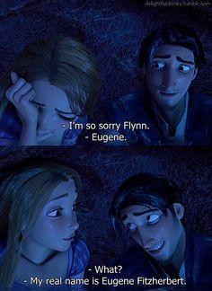 Fake Cool Name: Flynn Rider Real Lame Name: Eugene Fitzherbert Disney Babys, Disney Rapunzel, Tangled Rapunzel, Disney Couples, Cute Disney, Disney Girls, Tangled Movie, Tangled 2010, Disney Disney
