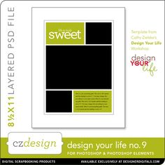 Design Your Life Layered Template No. 09 - Digital Scrapbooking Templates - Cathy Zielske