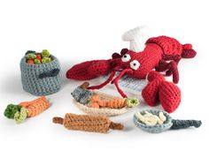 Monsieur the lobster chef amigurumi crochet pattern by The Flying Dutchman Crochet Design