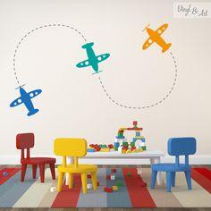 Vinilo Adhesivo Decorativo Infantil - Aviones. Aprende a volar con nuestros…