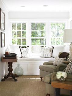 Built In Window Seat - Cottage - living room - Courtney Giles Interiors Interior Design Atlanta, Interior Design Living Room, Living Room Bench, Living Spaces, Living Rooms, Family Rooms, Built In Bench, Bench Seat, Home And Living