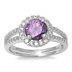 Sterling Silver 1.50 Carat Round Purple Amethyst Clear Diamond CZ Accent Split Shank Wedding Engagement Anniversary Halo Ring Love Gift