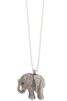Engraved Rhinestone Elephant Necklace