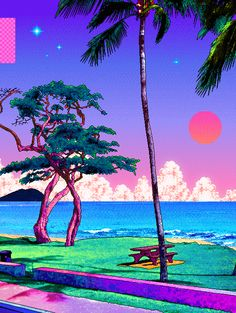vaporwave sfondi Beach Pixel Art Coffee Table by Rauros - Black Vaporwave Wallpaper, Art Pop, Art And Illustration, Art Vaporwave, Pixel Art, Wallpaper Backgrounds, Iphone Wallpaper, 8bit Art, Art Asiatique