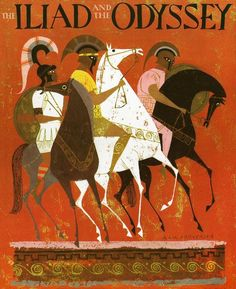 Vibrant Vintage Illustrations of Homer's Iliad and Odyssey by Alice and Martin Provensen – Brain Pickings Ancient Greek mythology meets mid-century art. Horse Illustration, Retro Illustration, Vintage Illustrations, Alice Martin, Homer Iliad, Greek Mythology Art, Texture Photography, Greek Art, Eat Greek