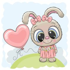 Cute Cartoon Drawings, Cute Cartoon Animals, Easy Drawings, Kitten Cartoon, Girl Cartoon, Cartoon Rabbit, Free Rabbits, Rabbit Vector, Paintings
