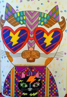 """""""CoolCat"""" #artbygnoom #gnoomsweetgnoom #catcolouring #colouring #cool #cats #kleurenvoorvolwassenen"""