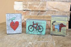 Set of 3 Wood and Metal Art with Bike, Heart, Dog www.aspenleafmarket.com