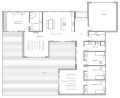 I love the open layout of this...the master bedroom is far away from the other bedrooms.  It is one story, 4 bedrooms.  I would just change the location of the kitchen to somewhere else.  Don't want kitchen next to bedroom.  Maybe outside kitchen on lower left area, sliding doors...very open.  Garage would be something else. ~MAA