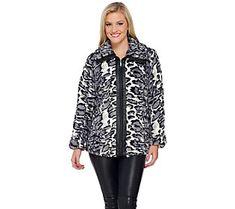 Dennis Basso Faux Fur Zip Front Jacket w/ Faux Leather Trim
