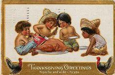Thanksgiving 1908 Mexican Children Enjoy Thanksgiving Dinner Vintage Postcard | eBay