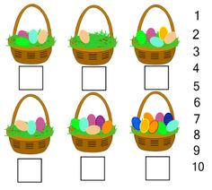 Easter Egg counting.  Write the correct number in the box to identify the number of Easter eggs in the basket. You can unlock the numbers and the students could also drag the correct number to the basket
