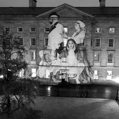Super talented street artist Joe Caslin, known for his large-scale black and white drawings, has released 'The Volunteers', a powerful new piece of public art in Front Square of Trinity College. The eye-catching Trinity art work looks at the decriminalisation of drug addiction and shows three figures involved with drug addiction policy change.  #StreetArt #Murals #ArtWork #StreetArtist #JoeCaslin #TrinityCollege #TheVolunteers