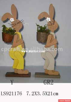 Wooden rabbits city | wood wooden easter craft decorative gift decoration spring wood rabbit ...