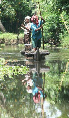 Backwater Reflections, Kerala.  India.
