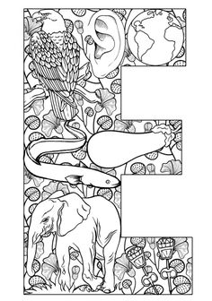 beautiful colouring in pages using the alphabet and related things
