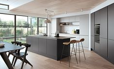 Matt true handleless kitchen in graphite and light grey. Modern Grey Kitchen, Light Grey Kitchens, Timber Kitchen, Contemporary Kitchen Cabinets, Modern Kitchen Island, Grey Kitchen Cabinets, Contemporary Kitchen Design, Gloss Kitchen, Minimal Kitchen