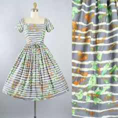 Vintage 50s Dress / 1950s Maggi Stover Cotton Sundress GRAY