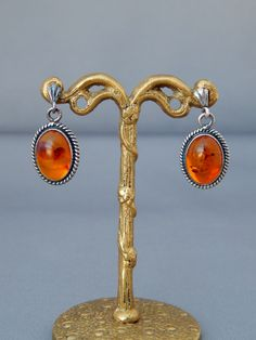 Here is the latest addition to my #etsy shop: Vintage Amber Sterling Silver Earrings, #Boho #Southwestern, #EstateJewelry #jewelry #earrings #midcentury https://etsy.me/2pBQHdg