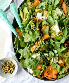 grilled apricot, sweet corn and arugula salad I howsweeteats.com