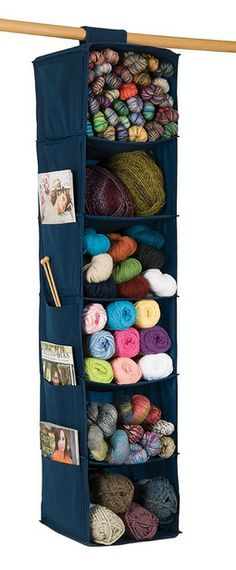 Six-Shelf Yarn and Craft Organizer Store all of your supplies in one convenient place. Six 10 x reinforced compartments hold lots of yarn, and six 6 pockets on the side are perfect for storing patterns, booklets, needles and tools. Yarn Storage, Craft Room Storage, Craft Rooms, Storage Spaces, Tool Storage, Storage Ideas, Knitting Needle Storage, Knitting Yarn, Knitting Needles