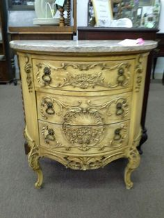 $395 - This elegant French cabinet has 3 drawers, original matching hardware and original finish and marble top. Unbelievable detailing throughout. ***** In Booth A6 at Main Street Antique Mall 7260 E Main St (east of Power RD on MAIN STREET) Mesa Az 85207 **** Open 7 days a week 10:00AM-5:30PM **** Call for more information 480 924 1122 **** We Accept cash, debit, VISA, Mastercard, Discover or American Express