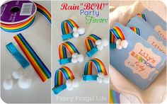Rainbow hair clippie party favors: To make them cut a 3 inch piece of rainbow ribbon (from Michael's). Hot glue one end to the back of the lined clip and the other end to the front.. Finish wiith small white poms from the craft store. So easy and cute!