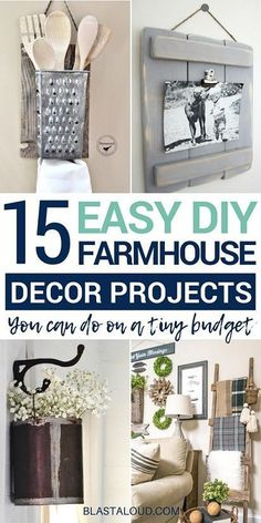 Looking for easy DIY farmhouse decor and furniture ideas that you can do on a budget Then look no further With these quick farmhouse style DIY projects you can fill your home or apartment with farmhouse charm for cheap farmhouse farmhousedecor diy Diy Home Decor Rustic, Easy Home Decor, Cheap Home Decor, Diy Decorations For Home, Decor Crafts, Country Chic Decor, Country Chic Cottage, Art Decor, Diy Crafts