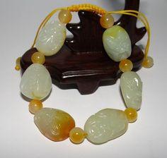 "1"" China Nature Nephrite Hetian Jade Yellow Skin Lohan Buddha Bangle Bracelets Bangle Bracelets, Bangles, Jade, Buddha, China, Yellow, Nature, Ebay, Bangle Bracelet"