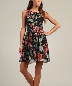 Take a look at this Black & Red Floral Lace-Back Sleeveless Dress by Kushi by Jasko on #zulily today!