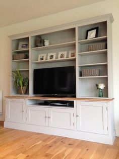 17 DIY Entertainment Center Ideas and Designs For Your New Home - EnthusiastHome - New Solid Pine & Oak Welsh Dresser TV Unit Stand Cabinet Painted Shabby Chic Built In Cabinets, Built In Shelves, Built Ins, Tv Cabinets, Built In Tv Wall Unit, Kitchen Cabinets, Built In Tv Cabinet, Tv Cupboard, Wall Cupboards