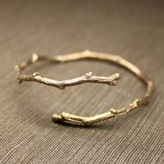 Gold tree branch bracelet