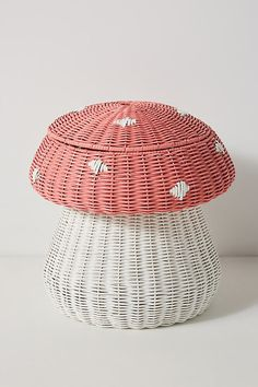 Mushroom Storage Bin by Anthropologie in Pink, Kids Rattan, My New Room, My Room, Room Ideas Bedroom, Bedroom Decor, Bedroom Inspo, Toy Storage Bins, Toy Organization, Stuffed Toy Storage