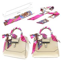 Scarves & Wraps, Fashion Scarves,Fashion Lady Girl Twilly Silk Ribbon Buckle Scarf Decoration for Bag Handle - Pattern G - Scarves Louis Vuitton Accessories, Designer Scarves, Silk Ribbon, Ribbon Hair, Pink Brown, Aliexpress, Beautiful Bags, Scarf Styles, Pattern Fashion