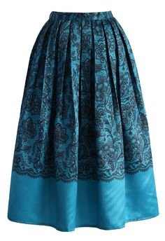 Lace Fantasy Pleated Midi Skirt in Blue - Skirt - Bottoms - Retro, Indie and Unique Fashion