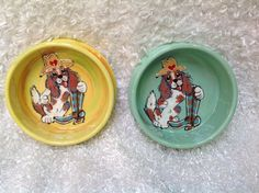 Hand Painted Dog Bowls / Whimsical Dog / King Charles Cavalier / Custom Ceramic Bowls / Dog Pottery /  Debby Carman / Faux Paw Productions by FauxPawProductions on Etsy