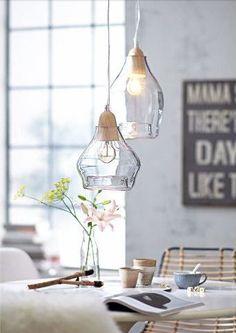 Glass and wood pendant lights