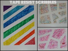 Tape Resist scribbles with marker and crayons