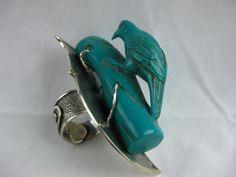 Resin bird on log  showcased on silver plate  adjustable ring band. www.sallybass.com