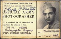 "U.S. Army Signal Corps photographer ""Official Army Photographer"" ID card belonging to Charles R. of the 161st Signal Photographic Company at Fort Benning, Ga., June 1942."