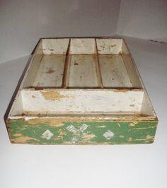 Vintage Wooden Box Green Chippy Windmills Diamonds Silverware Tray Utility Box Art Supply Box